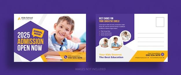 Plantilla de la postal de admisión de educación escolar para niños