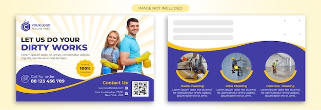 Plantilla de la postal del servicio de limpieza