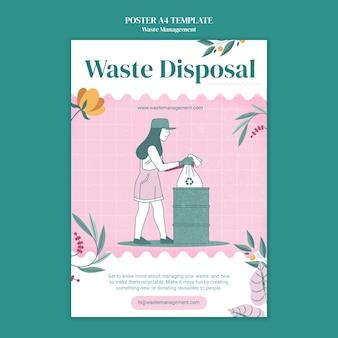 Plantilla de póster a4 de gestión de residuos