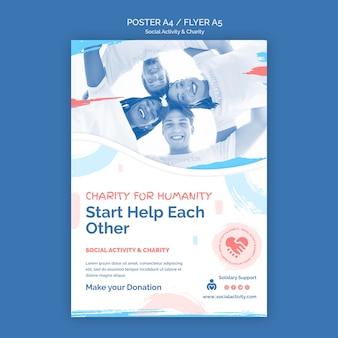Plantilla de póster para actividad social y caridad.