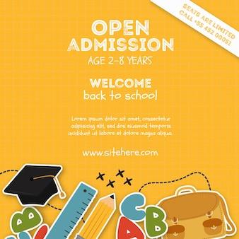 Plantilla de póster de admisión a la escuela primaria