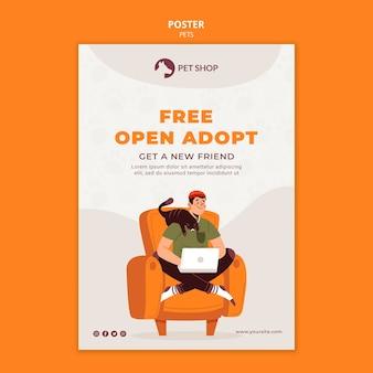 Plantilla de póster de adopción abierta gratuita