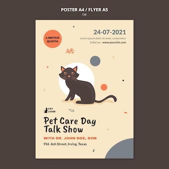 Plantilla de póster para adopción de gatos