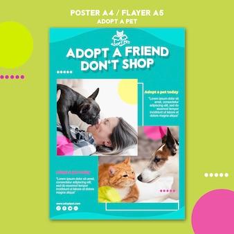 Plantilla de póster de adopción de mascotas