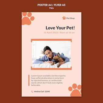 Plantilla de póster para adopción de mascotas.