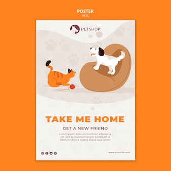Plantilla de póster de adopción de tienda de mascotas