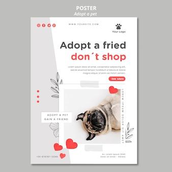 Plantilla de póster con adoptar mascota
