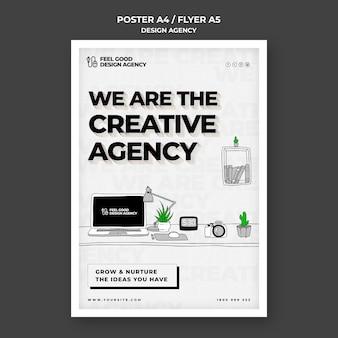 Plantilla de póster de agencia de diseño creativo
