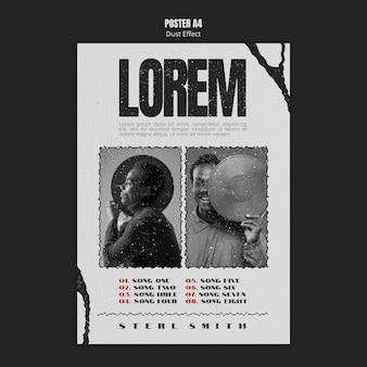 Plantilla de póster de álbum de música con efecto polvo y foto