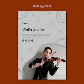 Plantilla de póster para amantes de la música de violín