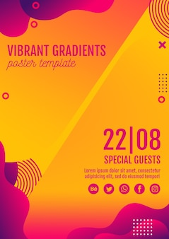 Plantilla póster amarillo festival de música