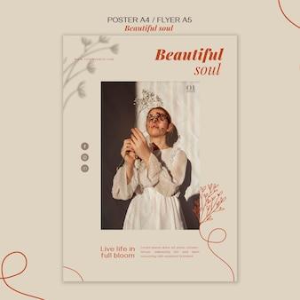 Plantilla de póster de anuncio de alma hermosa