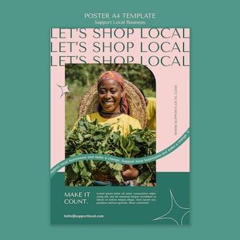 Plantilla de póster de apoyo a empresas locales