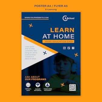 Plantilla de póster de aprender en casa