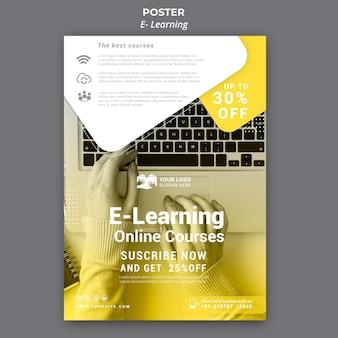 Plantilla de póster de aprendizaje electrónico