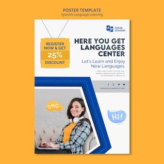 Plantilla de póster de aprendizaje de español