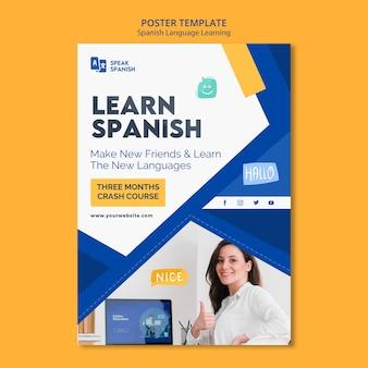 Plantilla de póster de aprendizaje del idioma español