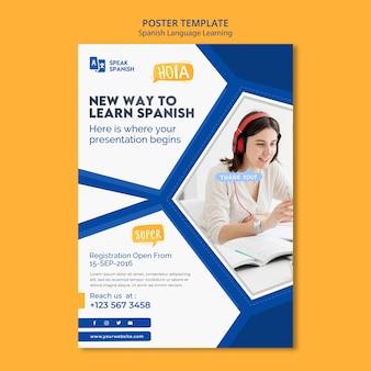Plantilla de póster de aprendizaje de idioma español