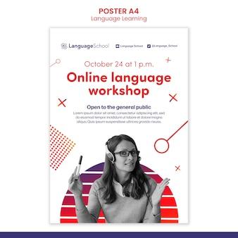 Plantilla de póster de aprendizaje de idiomas en línea