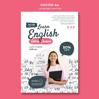 Plantilla de póster de aprendizaje de idiomas