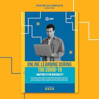 Plantilla de póster de aprendizaje en línea