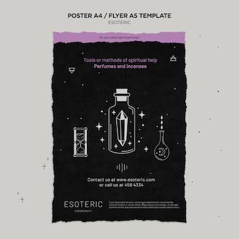 Plantilla de póster de artesanía esotérica