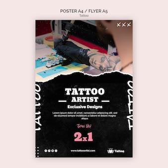 Plantilla de póster de artista del tatuaje