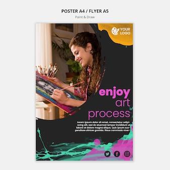 Plantilla de póster para artistas de dibujo y pintura