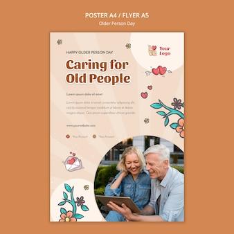 Plantilla de póster para asistencia y cuidado de personas mayores.