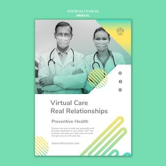 Plantilla de póster de atención médica virtual