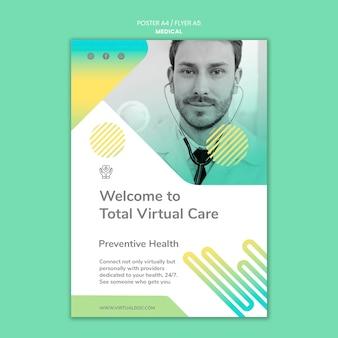 Plantilla de póster de atención virtual