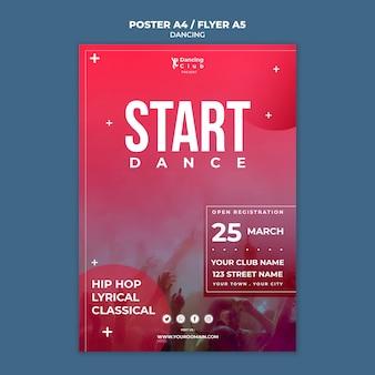 Plantilla de póster de baile colorido