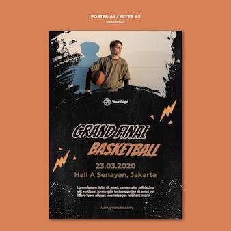 Plantilla de póster de baloncesto con foto