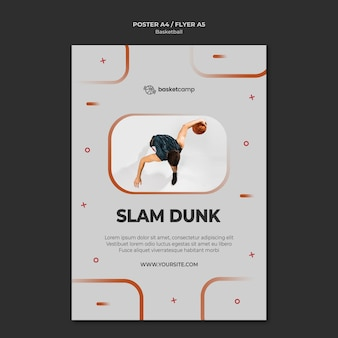 Plantilla de póster de baloncesto slam dunk
