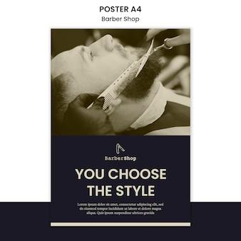 Plantilla de póster de barbería con foto