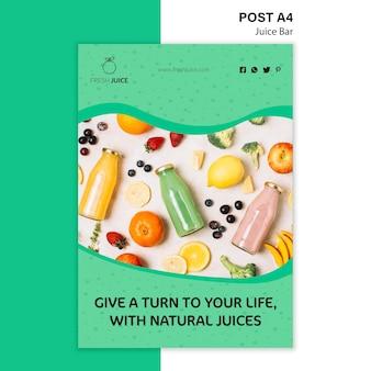 Plantilla de póster de barra de jugo natural