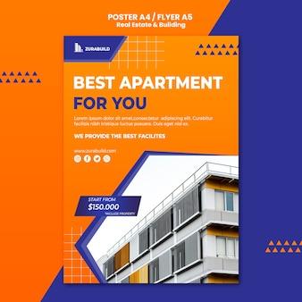 Plantilla de póster de bienes raíces y construcción