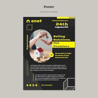 Plantilla de póster para bienes raíces y construcción.