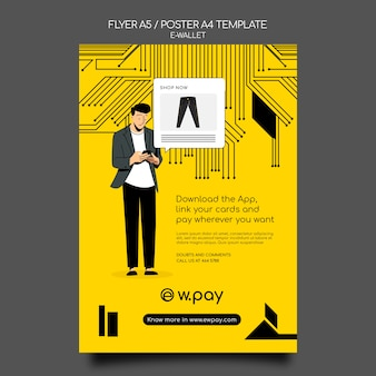 Plantilla de póster de billetera electrónica