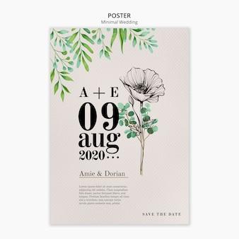 Plantilla de póster de boda mínima