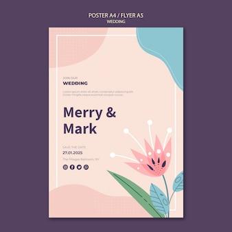 Plantilla de póster de boda