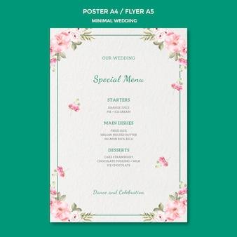 Plantilla de póster con boda