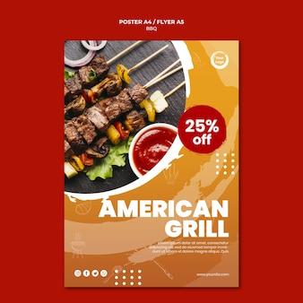 Plantilla de póster de brochetas de carne y verduras