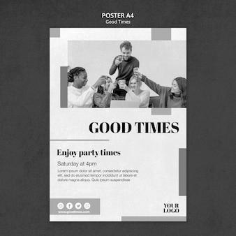 Plantilla de póster de buenos tiempos