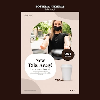 Plantilla de póster para café para llevar