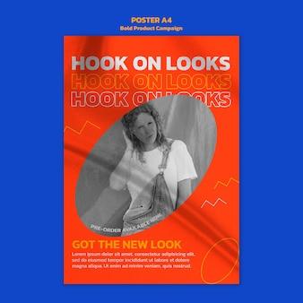 Plantilla de póster de campaña de producto con foto.