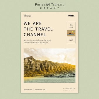 Plantilla de póster de canal de viajes