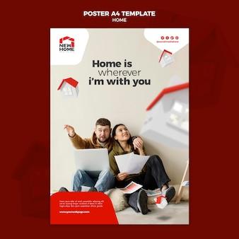 Plantilla de póster de casa nueva