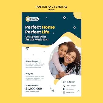 Plantilla de póster de casa perfecta