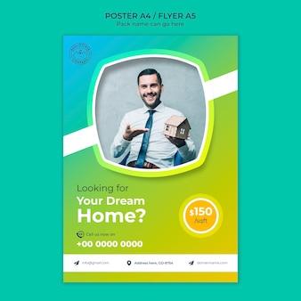 Plantilla de póster de la casa de sus sueños